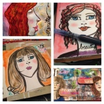 beautiful faces, curly, redhead, inks, acrylic, art journal